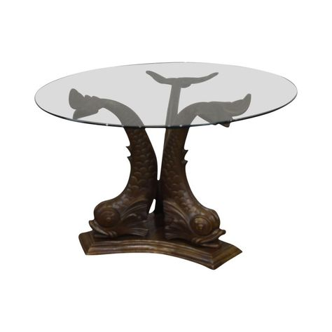 Italian Bronze Tri Dolphin Base Round Glass Top Dining Or Center