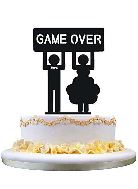 Bride And Groom With Game Over Silhouette Cake Topper Cake Stand