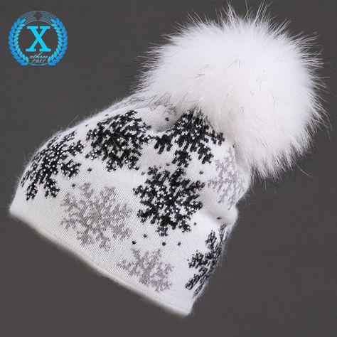 XTHREE reale del visone pon pon di lana della pelliccia del coniglio lavorato a maglia cappello Skullies cappello di inverno per le donne ragazze cappello feminino berretti cappello