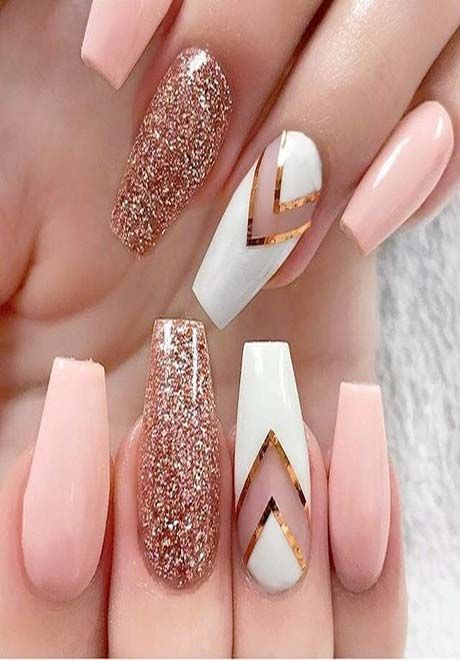 22 Full Set Acrylic Nails Rose Gold Nails Glitter Gold Glitter Nails Rose Gold Nails