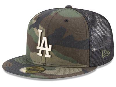 New Era Adjustable Trucker Cap LA Dodgers beige camo