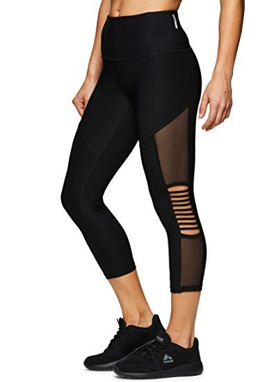 RBX Active Womens Fashion Capri Legging with Mesh Inserts