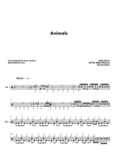 Drum Tab Sheet Music Transcription For Animals By Nickelback
