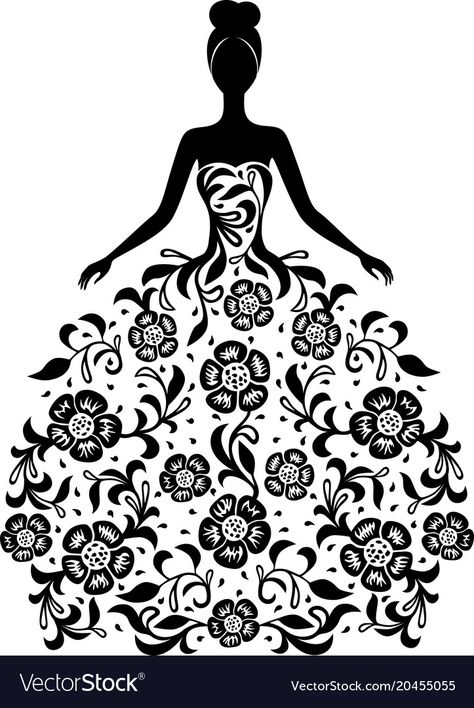 Girl in a dress with floral ornament silhouette Vector Image
