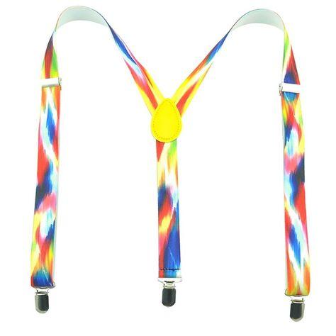 Bright Colorful Rainbow Tie-Dye  Suspenders
