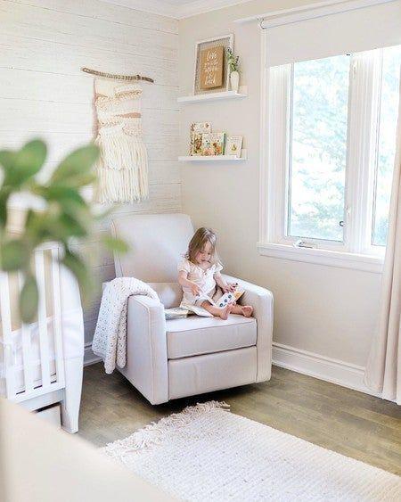 Nursery Recliner, Rocking Chair Nursery, Glider Recliner, Nursery Chairs, Nursery Room, Girl Nursery, Baby Glider, Coastal Nursery, Small Nurseries