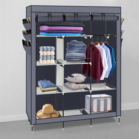 Ubesgoo Portable Closet Storage Organizer Wardrobe Clothes Rack Shelves Gray Walmart Com In 2020 Portable Wardrobe Closet Storage Closet Organization Portable Closet