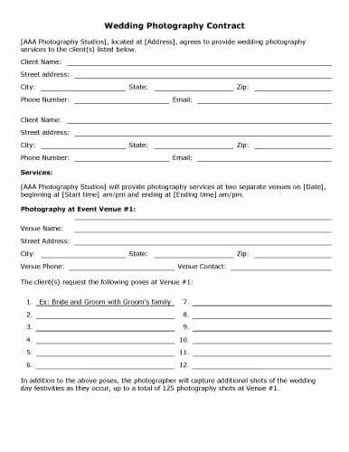 Wedding Band Contract Template In 2020 Photography Contract