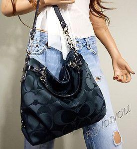 Coach RARE Brooke Black Signature Silky Hobo Convertible Tote Bag Purse Hot | eBay