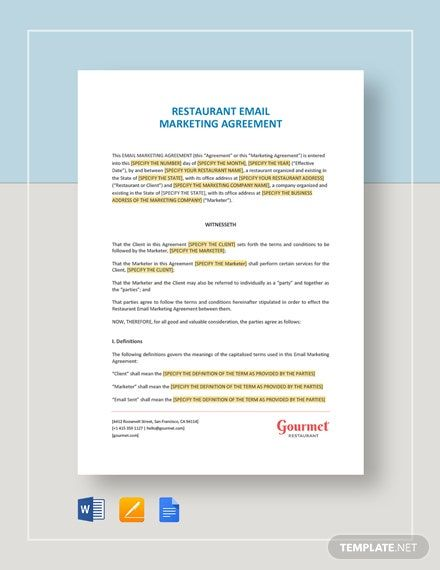 Restaurant Email Marketing Agreement Template Google Docs Word Apple Pages Template Net Email Marketing Template Marketing Template Bill Of Sale Template