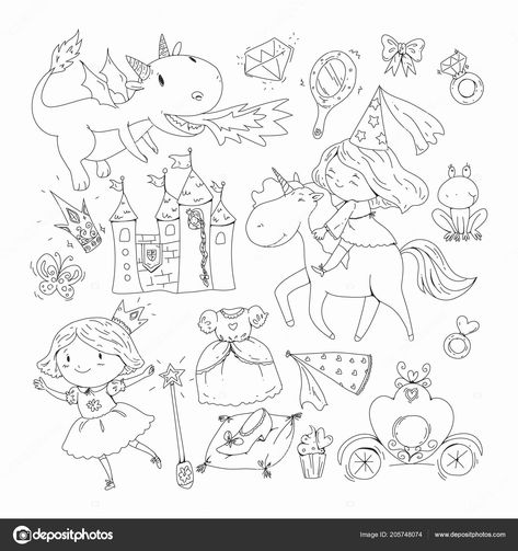 Princess And Castle Coloring Pages Best Of Coloring Page For Book Cute Little Princess With Unicorn