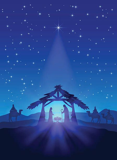 Christmas Jesus Birth Drawing.Christian Theme Christmas Star On Blue Sky And Birth Of
