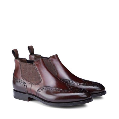 1674dc970d576f Santoni Burgundy Leather Brogue Chelsea Boots