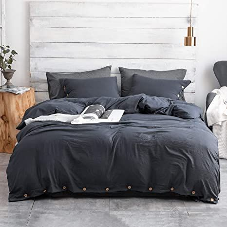 Argstar 3 Pcs 100 Microfiber Duvet Cover Set King With Buttons Washed Cotton Effect Navy Blue In 2021 Duvet Cover Sets Premium Bedding Marble Duvet Cover