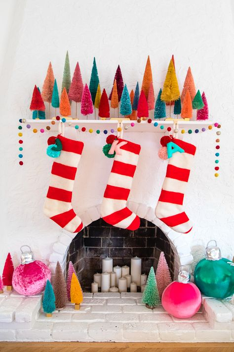 DIY Felted Stripe Christmas Stockings - Studio DIY - Gifts and Costume Ideas for 2020 , Christmas Celebration Decoration Christmas, Whimsical Christmas, Modern Christmas, Retro Christmas, Little Christmas, Xmas Decorations, Christmas Holidays, Vintage Christmas Stockings, Christmas Tables
