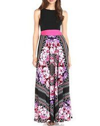 093f6238acc84 Roiii Deep V Neck Black Print Flower Cocktail Party Long Boho Maxi ...