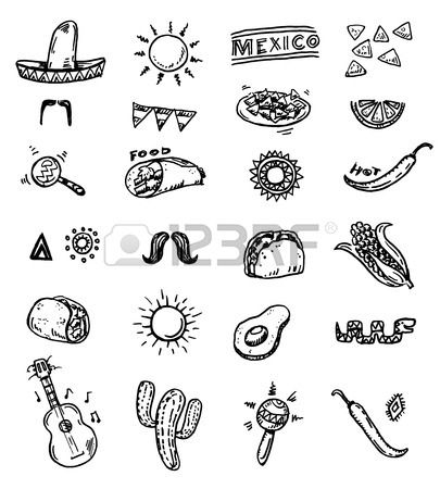 Mexican seamless hand drawn icons set Stock Vector