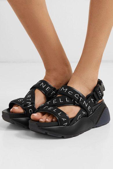 Black Logo-woven canvas sandals