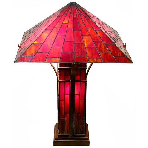 Mission Double Light Red And Yellow Tiffany Style Table Lamp