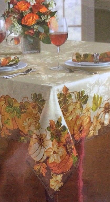 Thanksgiving Fabric Tablecloth Pumpkin Delight Harvest Fall Festival 70 Rd New Liberty Tablecloth Fabric Vinyl Tablecloth Table Cloth