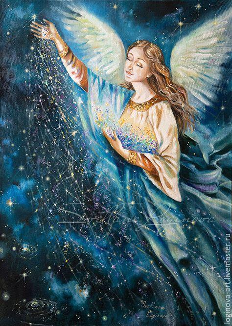 Купить Рождение звезд...-картина на холсте, ангел - ангел, ангел холст масло, ангел маслом