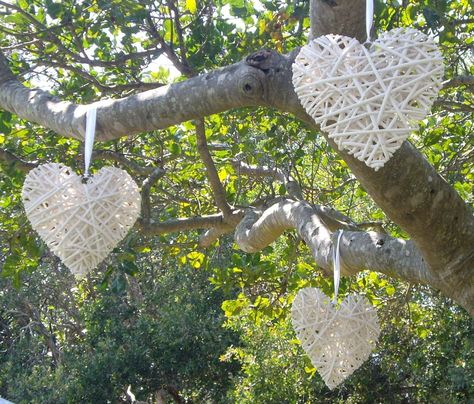 Wicker love hearts look gorgeous hanging from the branches of tree's.