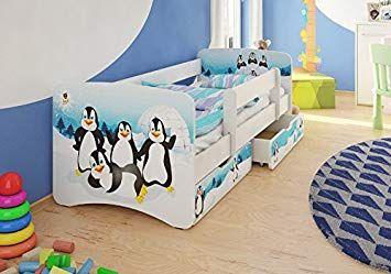 Tolles Kinderbett Mit Rausfallschutz Stauraum Boxen Und Pinguin