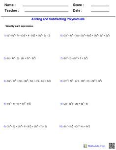 Adding and Subtracting Polynomials Worksheets | Algebra ...