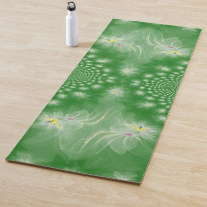Dancing White Gold Fractal Water Lilies Yoga Mat Water Lilies Yoga Mat Custom Yoga Mat