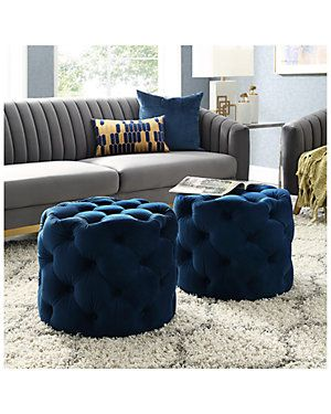 navy blue velvet storage ottoman gilt