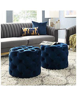 Inspired Home Navy Blue Velvet Storage Ottoman Gilt In 2020 Blue Living Room Blue Living Room Decor Gold Living Room