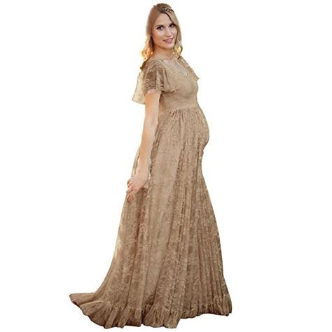Womens Pregnant Lace V-Neck Maternity Long Dress Maxi Gown Photography Plus Size