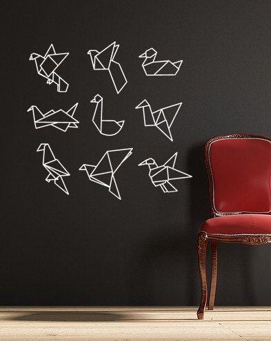 Origami Vögel Vinyl Wall Decal von RadRaspberry auf Etsy