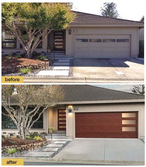 A New Front Door And Clopay Modern Steel Collection Faux Wood Garage With Windows Give This Home Contemporary Curb Eal Www Clopaydoor