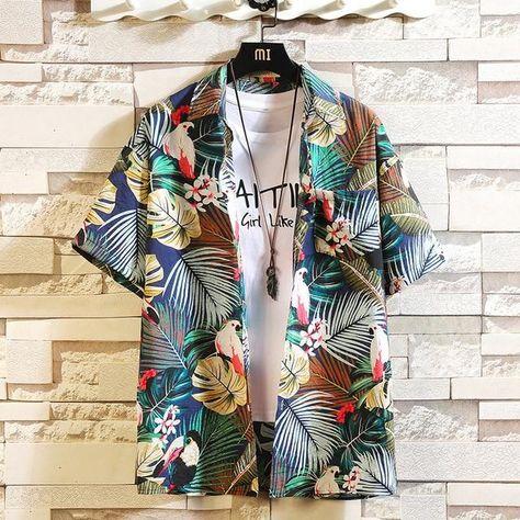 Brand New 2021 Beach Summer Print Flower Short Sleeves Hawaii Collar Korea Style Shirt For Men's Harajuku Clothing - C533 6 / M FOR 155 CM 55KG
