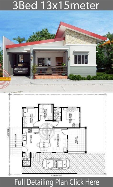 3 Bedrooms Villa Plan 13 7x19m Samphoas Plan In 2021 Home Design Floor Plans House Construction Plan Model House Plan