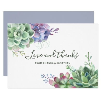 Watercolor Desert Cactus Succulents Wedding Thanks Thank You