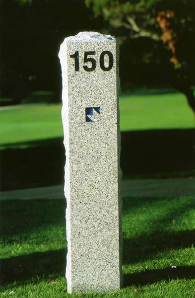 Polished Stone Yardage Marker Sign For Golf Course Golf Courses Polished Stone Golf