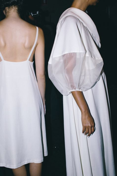 en trend minimalist couture for that big occasion perhaps an alternative wedding dress for those who love scandinavian style and design alice Contemporary Fashion long white dress with voluminous sleeves // Gail Sorronda