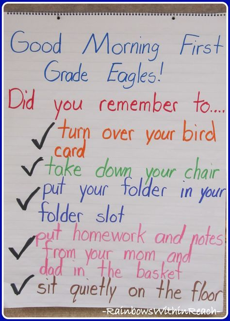 First Grade Morning Checklist (RoundUP of Morning Routines from RainbowsWithinReach)