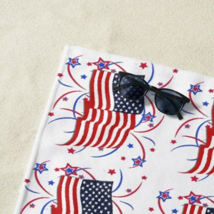 American Flag And Fireworks Beach Towel Independence Day 4th Of