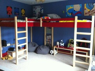 Double Loft Bed modern kids beds That solves the fight over who