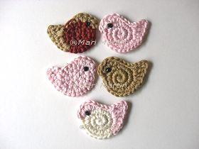 Crochet bird applique. Free pattern. ♡ Teresa Restegui http://www.pinterest.com/teretegui/ ♡