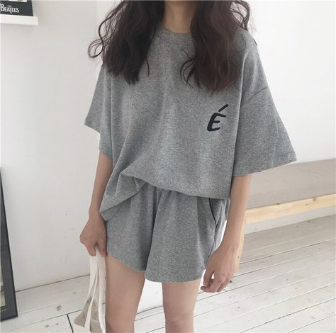 USD$13.6 2020 New Pajamas Women White Black Pink Gray South Korean Style Summer Thin Short Sleeve Shorts Home Clothes Two Casual Suits