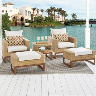Birch Lane Lawson Wicker Rattan 4 Person Seating Group Durable Outdoor Furniture Seating Groups Outdoor Furniture Sets