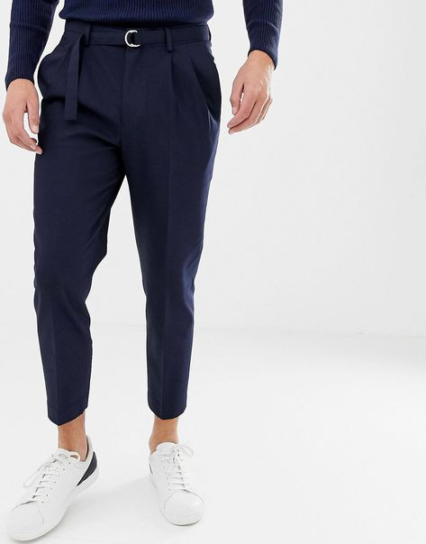 ASOS DESIGN tapered crop smart pants with obi tie belt in navy | ASOS