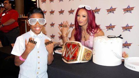 Dean Ambrose and Sasha Banks host a VIP signing at Barclays Center in NYC