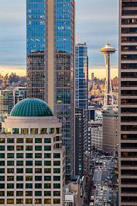 Seattle Space Needle Golden Sunset Light by Mike Reid - Seattle Space Needle Golden Sunset Light Photograph - Seattle Space Needle Golden Sunset Light Fine Art Prints and Posters for Sale