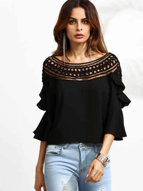 Shop Black Crochet Neck Bell Sleeve Ruffle Top online. SheIn offers Black Crochet Neck Bell Sleeve Ruffle Top & more to fit your fashionable needs.