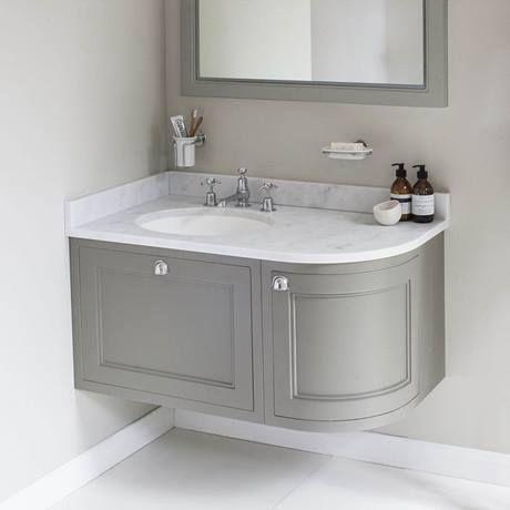 Burlington Wall Hung 100 Curved Corner Vanity Unit Minerva Worktop With Basin Classic Grey Left Hand Corner Sink Bathroom Bathroom Sink Units Corner Bathroom Vanity